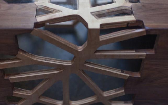 Masa de cafea modernă din lemn sculptat